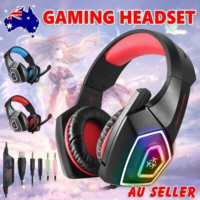 Gaming Headset MIC LED Headphones Surround for Mac PC PS4 Xbox One Laptop 3.5mm