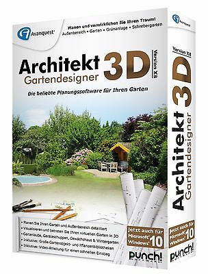 Architekt 3D X8 Gartendesigner CD/DVD  Win Version 18  + Innenarchitekt 3D X8