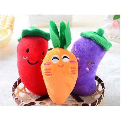 Soft Dog Pet Puppy Chew Play Squeaker Vegetable Cute Plush Sound For Dog Toys FI
