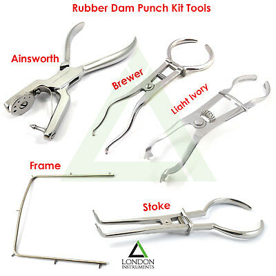 Restorative Dental Rubber Dam Punch Clamp Forceps Stoke Endodontic Kit Tool