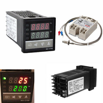 Digital LCD PID REX-C100 Temperature Controller Kit Max.40A SSR Thermocouple Hot