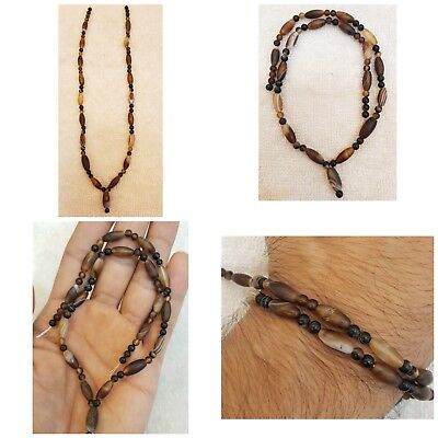 Beautiful Old Sulimani Banded Oval Beads Lovely Ancient Old Necklace #u7