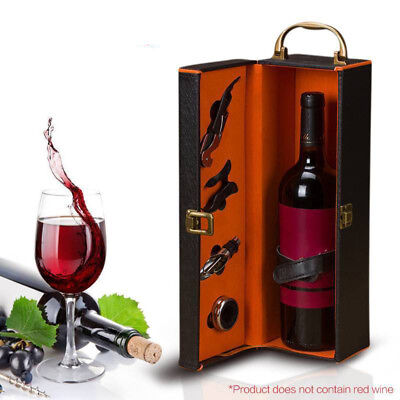 PU Leather Single Holder Wine Bottle Storage Carry Case Gift Box Set Accessories