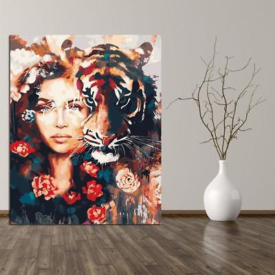 Girl with tiger Paint By Number Kit Acrylic Oil Painting On Canvas Art Home