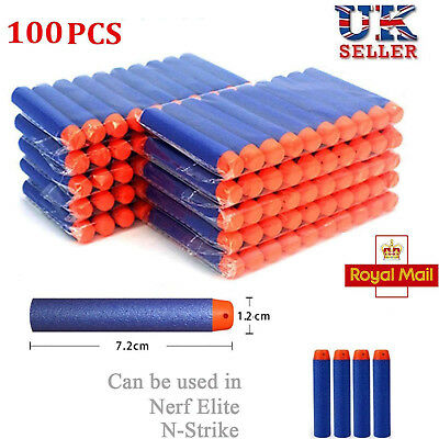 100X For Nerf Gun Soft Refill Bullets Darts Round Head Blasters Xmas Kids Toy UK