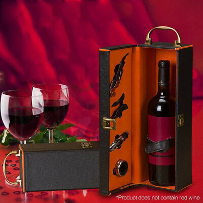 PU Leather Wine Bottle Storage Box Packing Container Carry Case Gift + 4pcs Tool