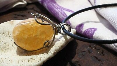 Citrine Natural Crystal Gemstone Pendant Necklace Success Abundance Reiki Gift