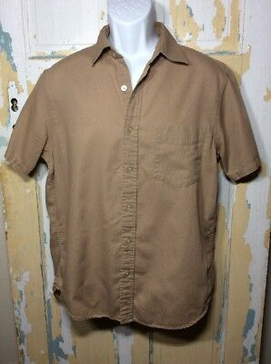 a49641da ENRO L'UOMO SHIRT Short Sleeve Mens Medium Tan Button Up NWT ...