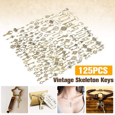 125Pcs Bronze Keys Vintage Royal Antique Old Looks Skeleton Heart Bow Pendant