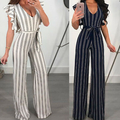 Womens V Neck Ruffle Sleeveless Stripe Jumpsuit Wide Leg Trouses Casual Playsuit
