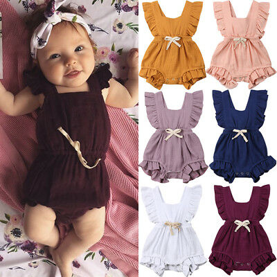 AU Newborn Baby Girl Ruffle Solid Color Romper Bodysuit Jumpsuit Outfits Sunsuit