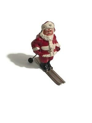 Vintage Antique Cast Iron Santa Claus Skiing Figurine Made in USA