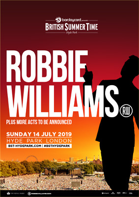 """2 x E-Tickets - Robbie Williams - Hyde Park - London - """"Primary Entry"""""""