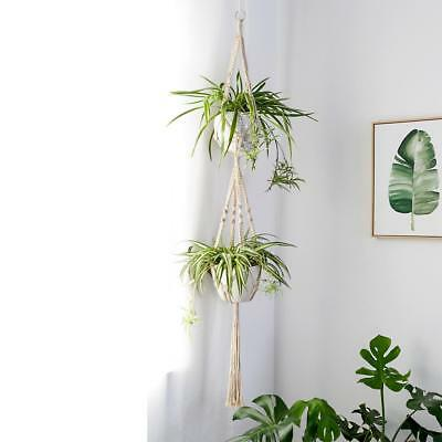 Mkono Macrame Double Plant Hanger Hanging Planter Jute Rope 42.2 Inches Cotton