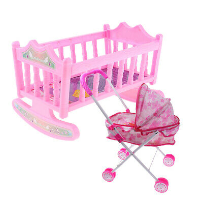 Pink Doll Pram Buggy Pushchair Stroller & Baby Bed Crib For 25-28cm Doll Toy