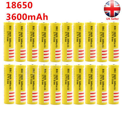 18650 Battery 3.7V 3600mAh BRC Rechargeable Li-ion Lithium Cells Yellow UK Stock