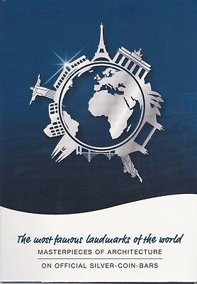 Famous Landmarks Of The World Silver Coin Bar Album Storage AUCTION