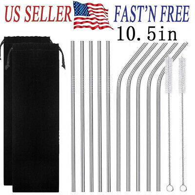 "5 / 10 Pcs 10.5""Stainless Steel Metal Drinking Straw Reusable Straws with Brush"