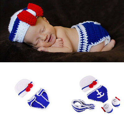 1 Set Newborn Baby Photography Props Infant Photo Crochet Outfits Gift Costume