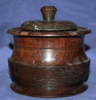 Vintage hand made round wood box