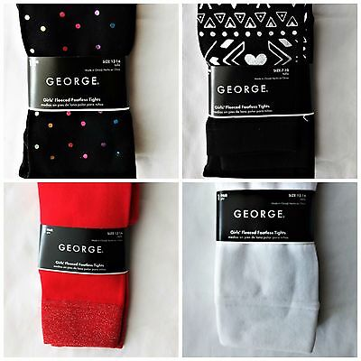 New George's Girls Footless Tights Polyester warm Thick Black Red Multi dots