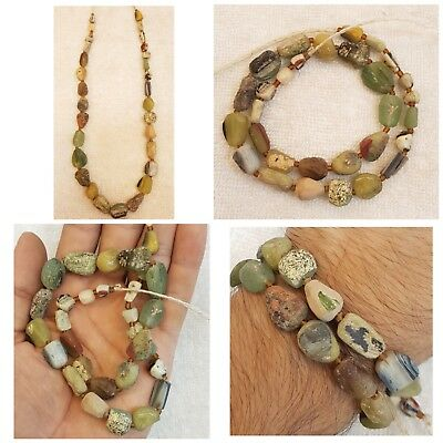 Beautiful Unique Shape Old Gabree Glass Beads Ancient Beads Necklace #j9