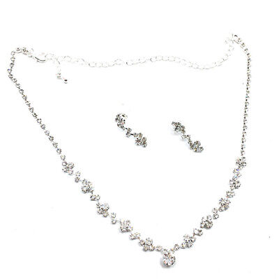 Silver Bridesmaid Crystal Necklace Earrings Set Wedding Bridal Jewelry LS