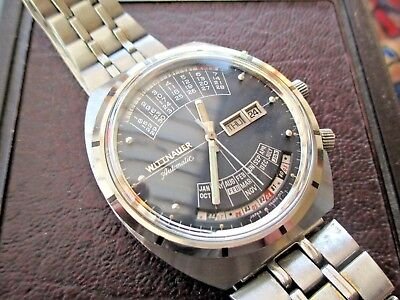 BEAUT. LONGINES-WITTNAUER 2000 PERP.CAL.GENTS VINTAGE WATCH.SERVICED.BOX.1970's.