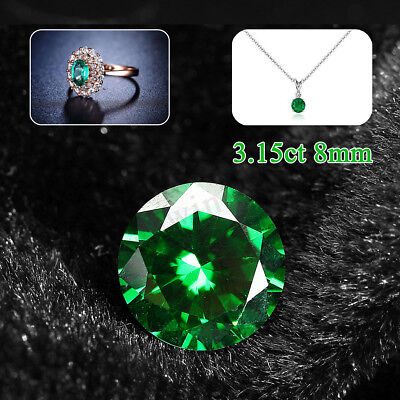 3.15ct VVS Natural Mined Green Emerald 8mm Round Cut Loose Stones Gem Gemstone