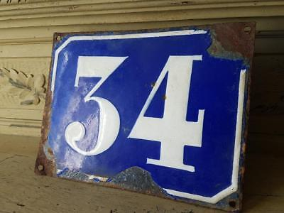 Antique French Industrial Traditional Blue & White Enamel Door / House Number 34