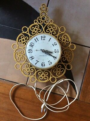 Vintage (1950s?) GENERAL ELECTRIC Model 2151 Gold Scroll Wall Clock Model 2151