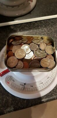 Job Lot of USA coins - Mixed denominations. In old tobacco tin. PENNY STARTS
