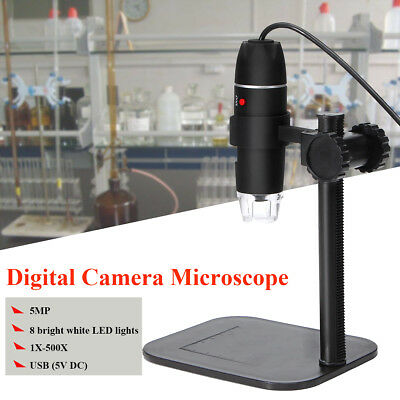 5MP 8LED USB Magnifier Digitale Microscope Endoscope Per Video Camera 1X-500X 5V