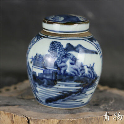 Collection chinese Qing dynasty blue and white porcelain landscape tea caddy