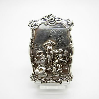 Antique Sterling Match Safe, Matchsafe Vest with Nude, Surrounded by Men