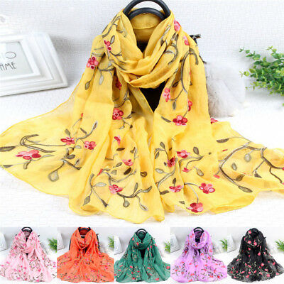 Elegant Women Long Embroidery Cotton Scarf Wrap Lady Shawl Large Silk Scarves SK