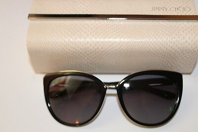 72d15808d5145 Jimmy Choo DANA S 10EHD Shiny Black Plastic Cat-Eye Large Sunglasses