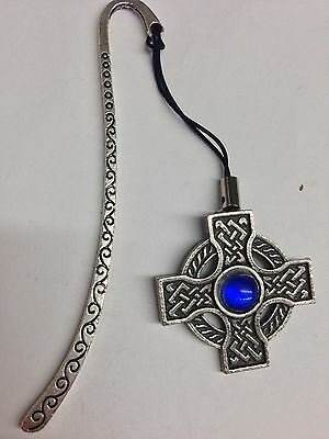 Celtic Cross BLUE Gem ICCP Pattern bookmark with cord 3D English pewter charm