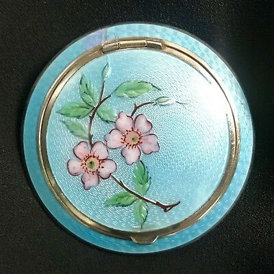 Vintage Turquoise Blue Guilloche Enamel Double Sided Art Deco Rose Compact 1920s