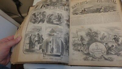Bound volume of the Ballou's Pictorial Jan. 5- June 30, 1855 Prints!