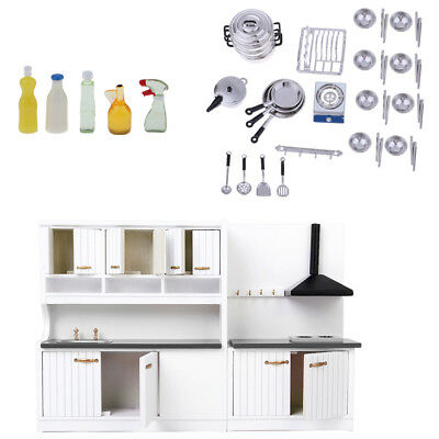Dollhouse Miniature Furniture Deluxe Kitchen Cabinet Tableware Cleaning Kit