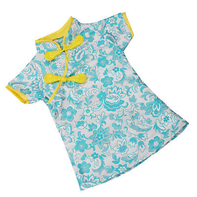 Handmade Blue Chinese Traditional Dress For 18inch Doll Clothes Cheongsam