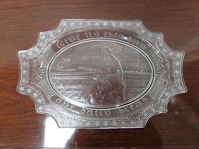 Adam's & Co Antique Glass EAPG Cleopatra Egyptian Glass Bread Plate 13 3/4""