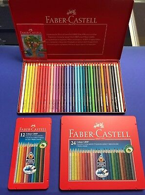 Faber Castell Colour Grip 12 er  24 und 36 iger Set Buntstifte Malen Metalletui