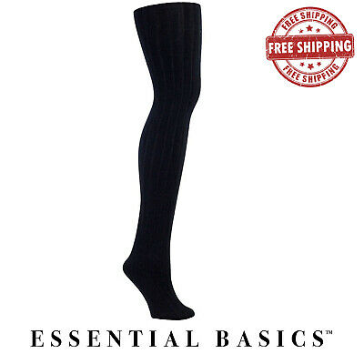 Women's Fleece Lined Ribbed Footed Soft Solid Colored Tights
