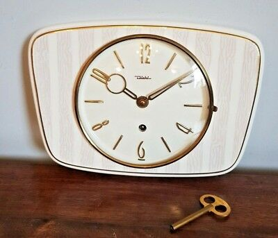 Vintage Diehl Art Deco Ceramic Wall Clock (Wind Up Mechanism Kitchen White Gold)