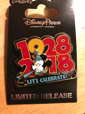 Disney Cast Member Ex. Limited Release  Mickey's 1928-2018 Let's Celebrate Pin!