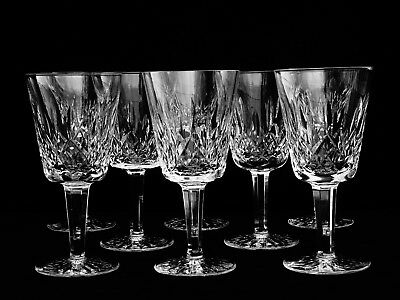 "8 Brilliant Waterford Crystal ""lismore"" Water Goblets ~ Made In Ireland"
