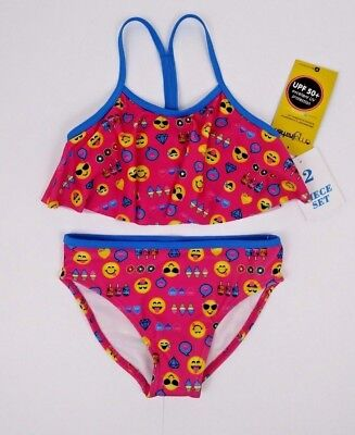 f53ae2f81e Emojination Girls Swim Suit Size 4 2 Piece Pink Emojis UPF 50 Sun  Protection NWT