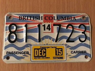 British Columbia Passenger Carrier License Plate!!! Rare!! Nice Condition!!!